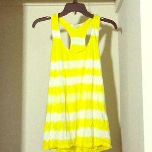 Yellow striped long tank top